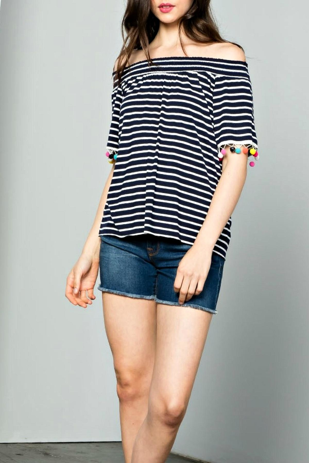 THML Clothing Striped Pompom Top - Main Image