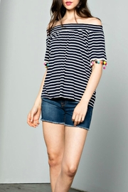 THML Clothing Striped Pompom Top - Product Mini Image