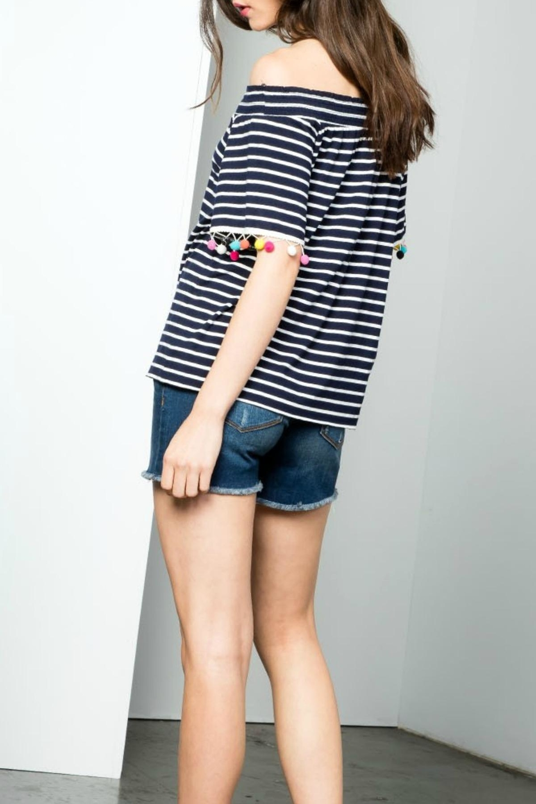 THML Clothing Striped Pompom Top - Side Cropped Image