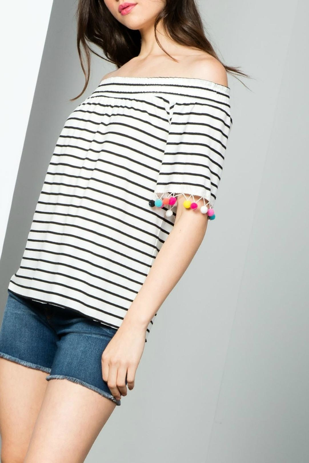 THML Clothing Striped Pompom Top - Front Cropped Image