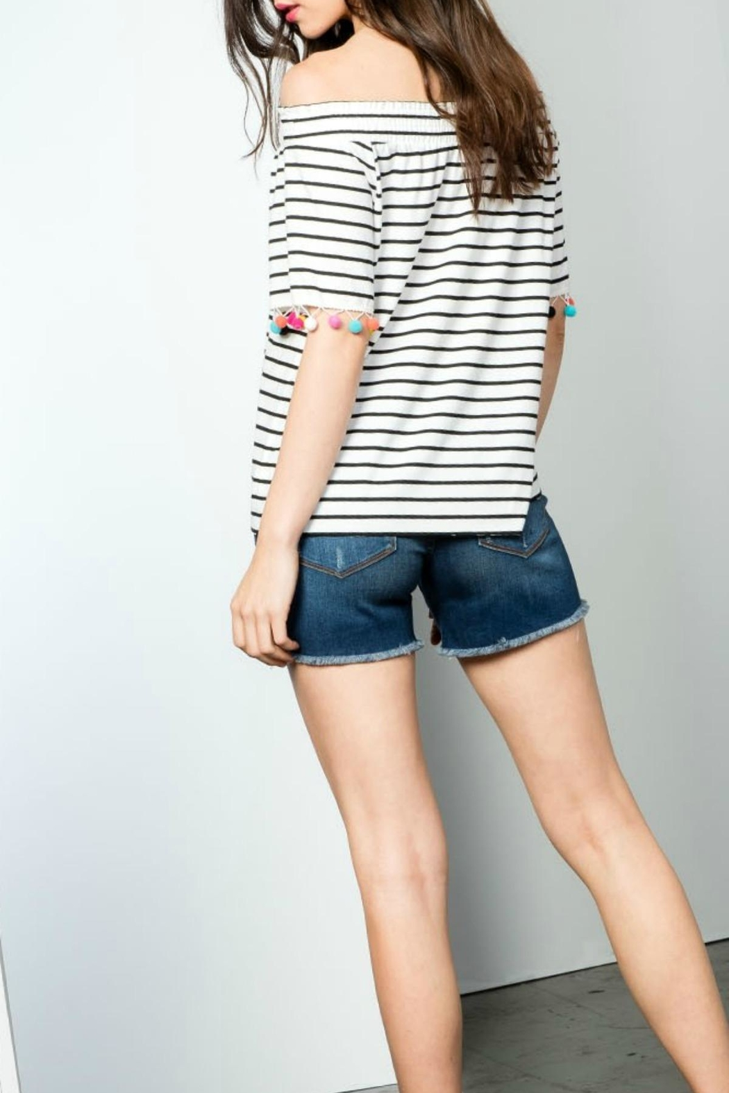 THML Clothing Striped Pompom Top - Front Full Image