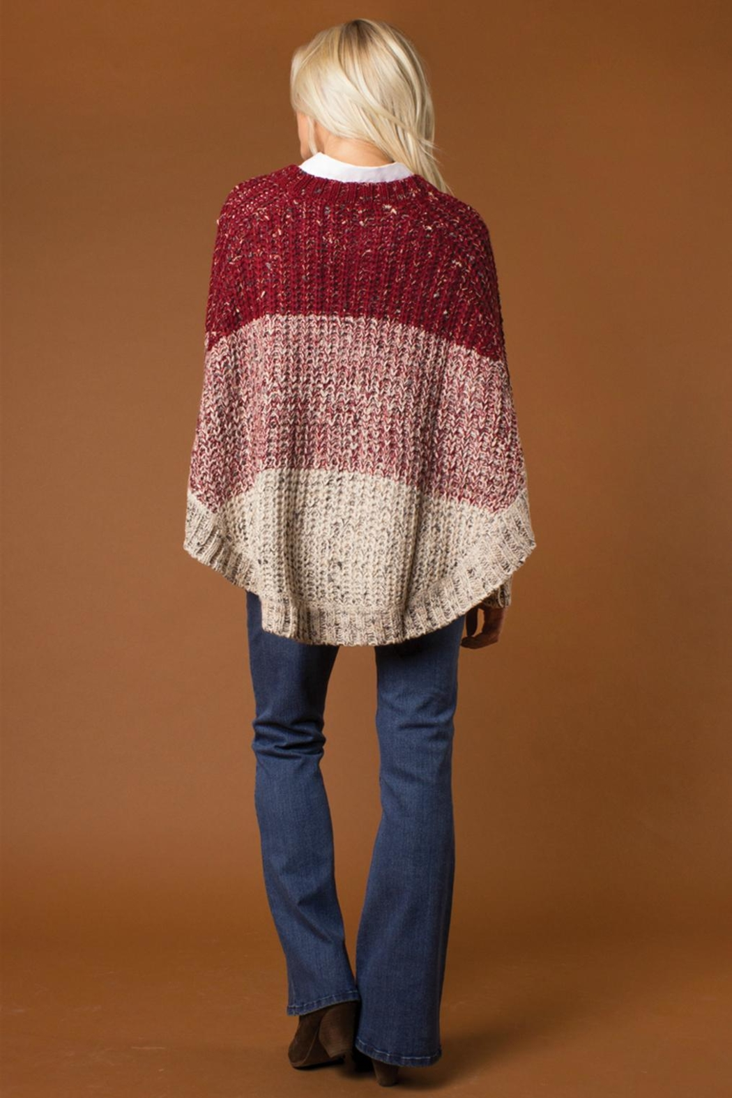 Simply Noelle Striped Poncho Sweater - Side Cropped Image