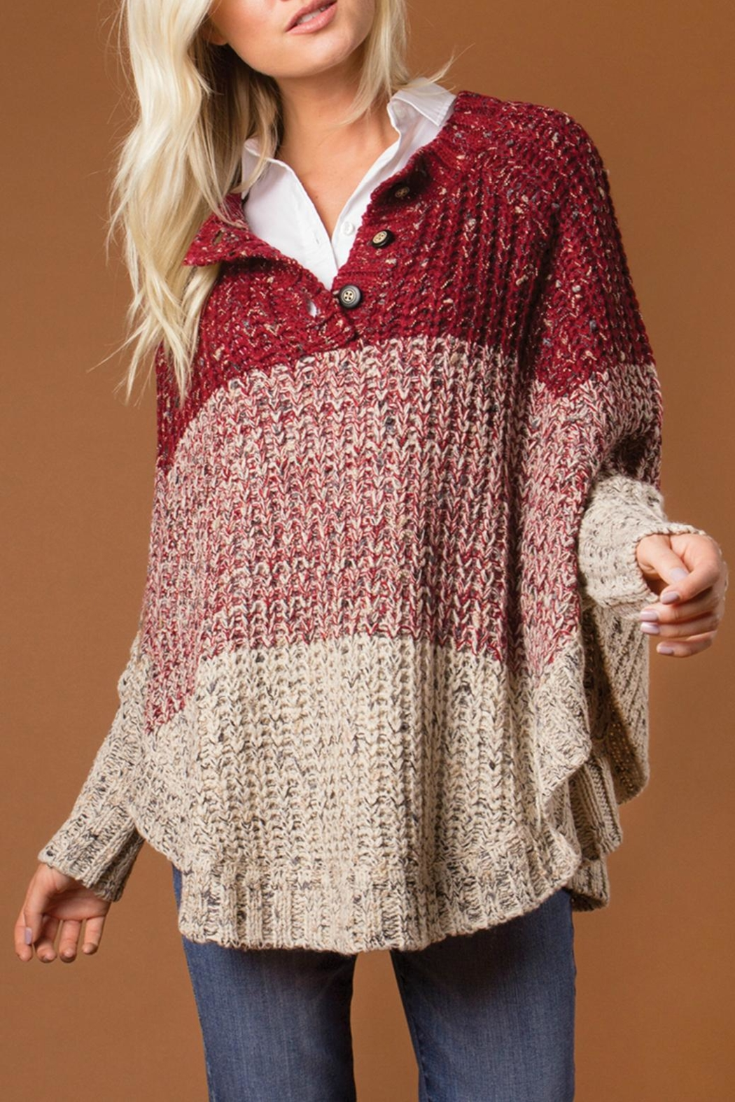 Simply Noelle Striped Poncho Sweater - Front Cropped Image