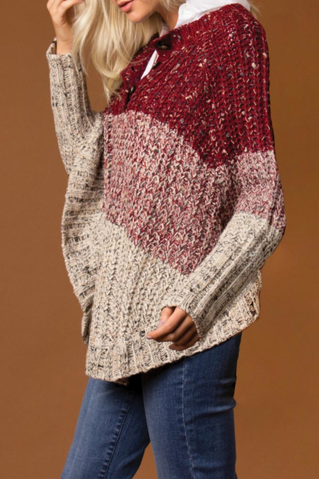 Simply Noelle Striped Poncho Sweater - Front Full Image