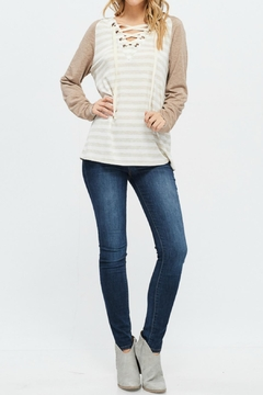 White Birch Striped Raglan Hoodie - Alternate List Image