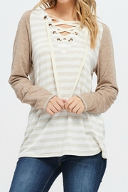 White Birch Striped Raglan Hoodie - Product Mini Image
