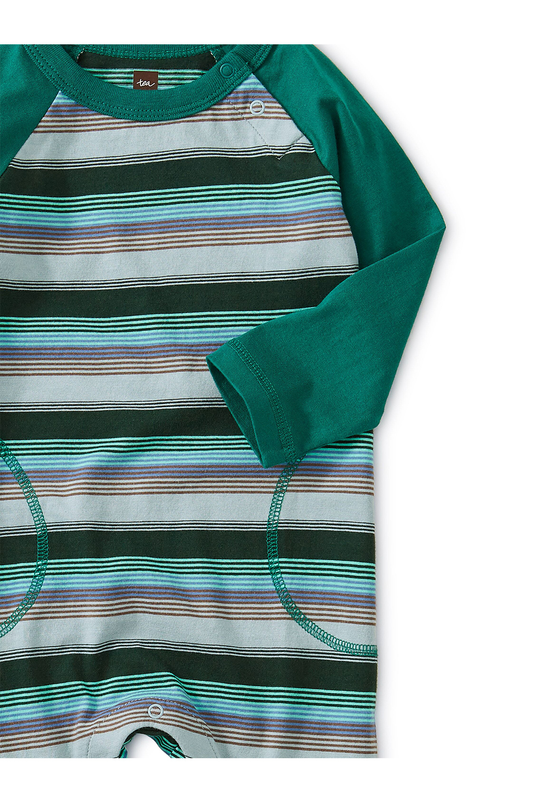 Tea Collection Striped Raglan Romper - Front Full Image