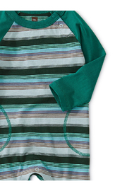 Tea Collection Striped Raglan Romper - Front full body