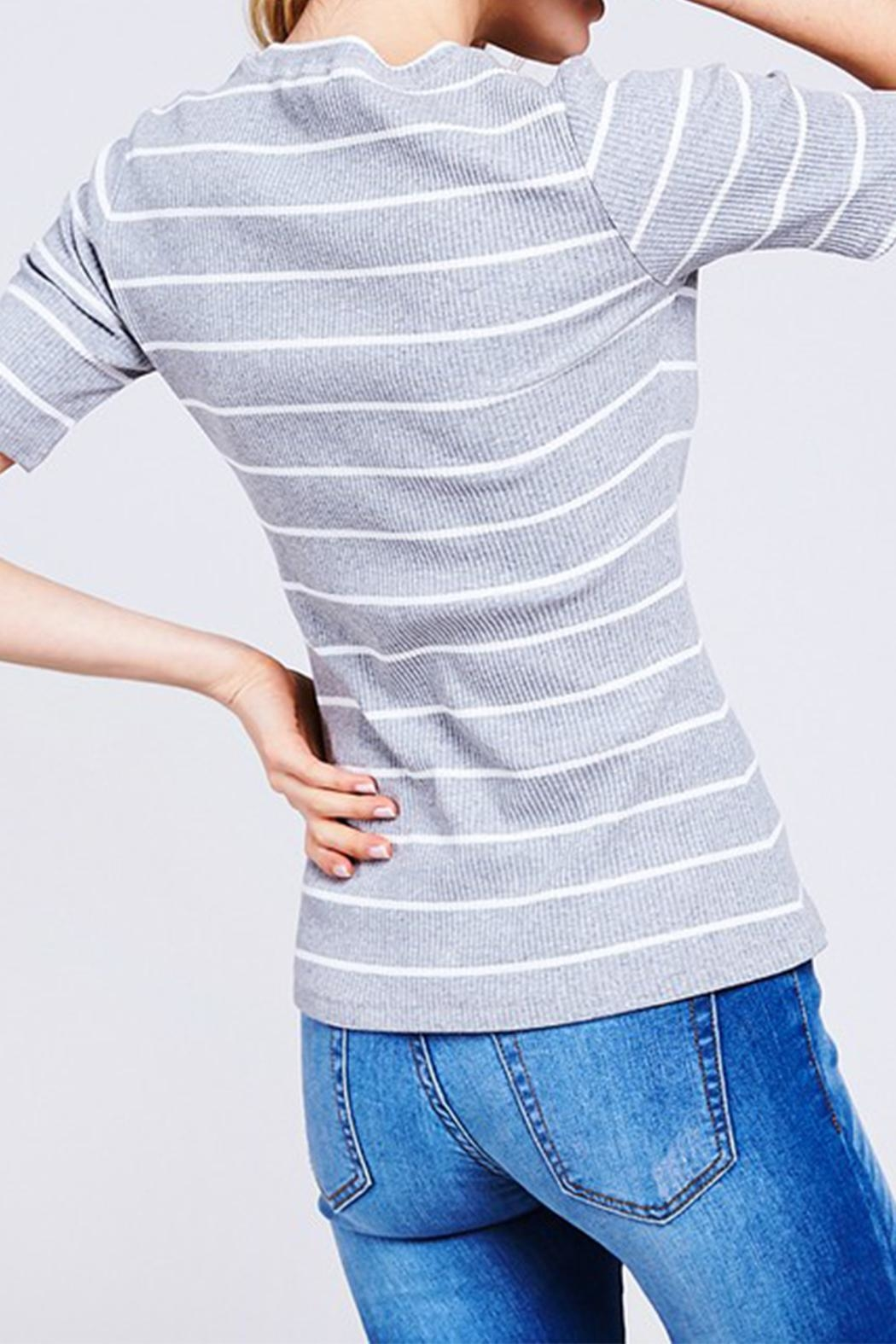 Polagram Striped Rib Top - Front Full Image