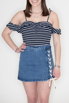 Honey Punch Striped Ribbed Bodysuit - Product List Image