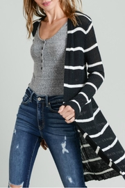 Doe & Rae Striped Ribbed Cardigan - Front cropped