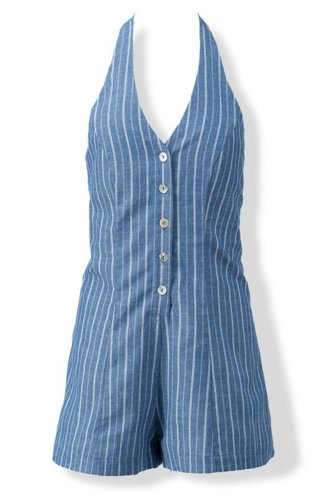 Modern Emporium Striped Romper - Back Cropped Image