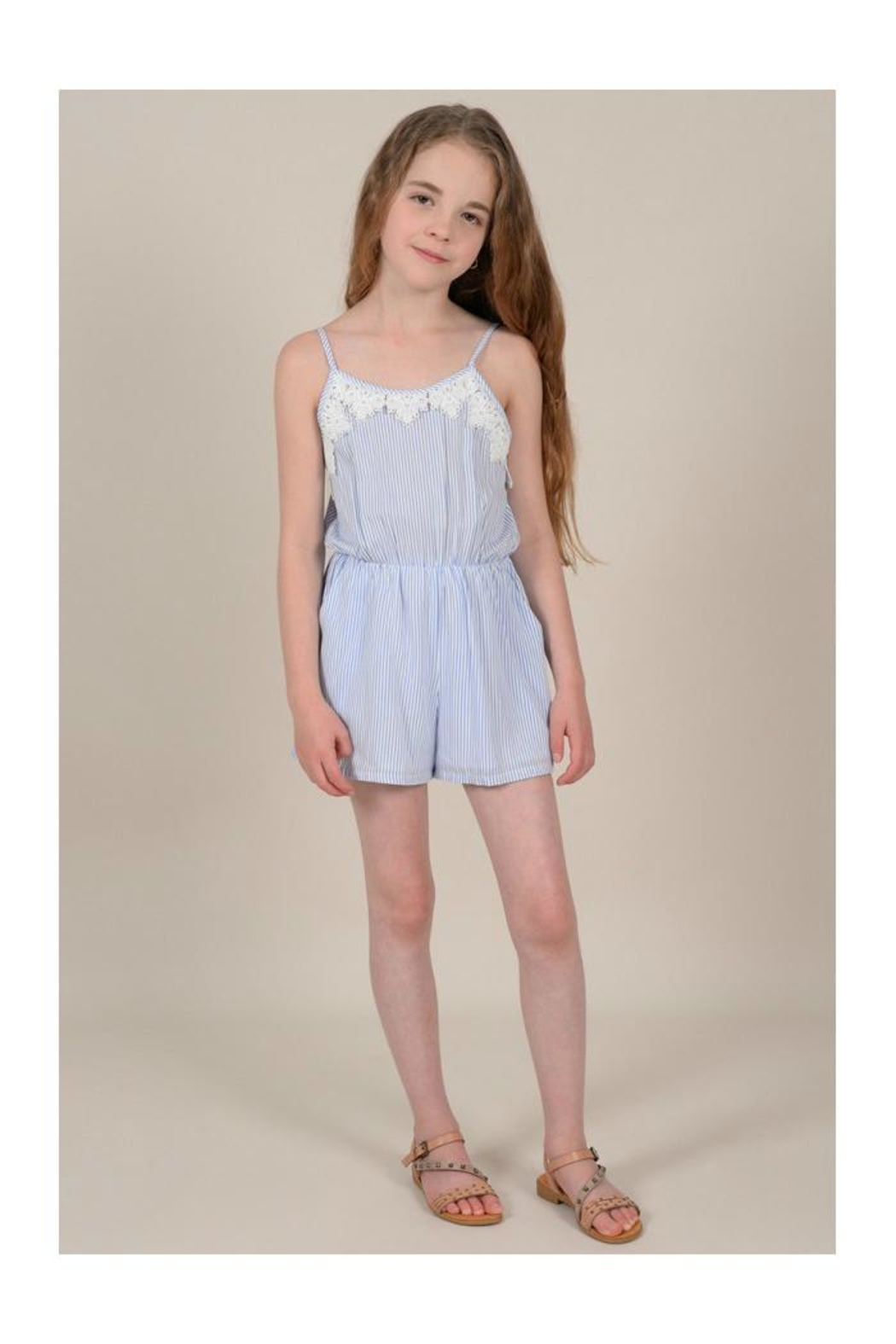 Mini Molly Striped Romper W/lace - Front Cropped Image