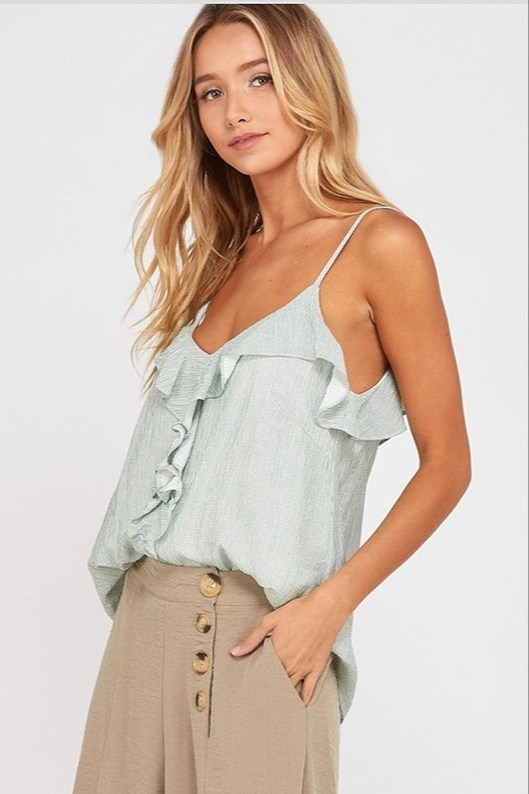 Wishlist Striped Ruffle Cami Top - Side Cropped Image