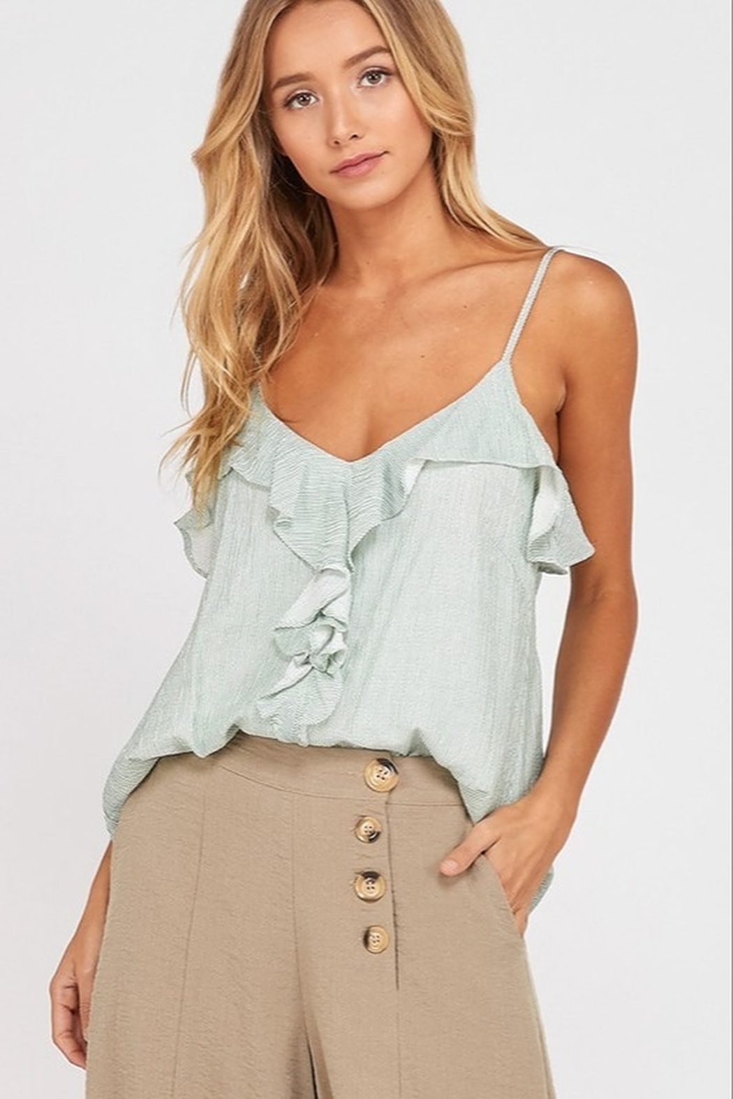 Wishlist Striped Ruffle Cami Top - Front Cropped Image