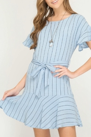 She + Sky Striped Ruffle Dress - Product Mini Image
