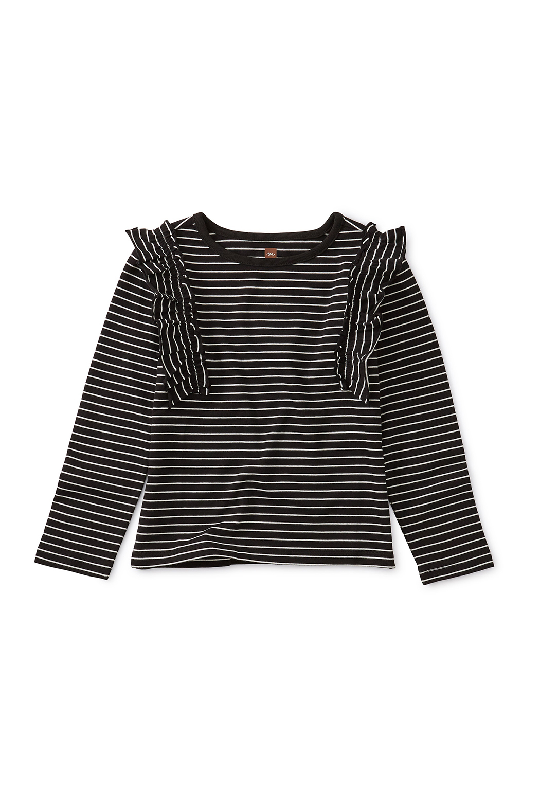 Tea Collection Striped Ruffle Flutter Top - Main Image