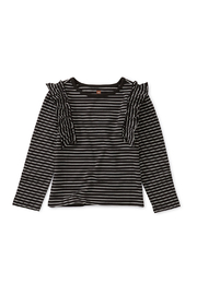 Tea Collection Striped Ruffle Flutter Top - Front cropped