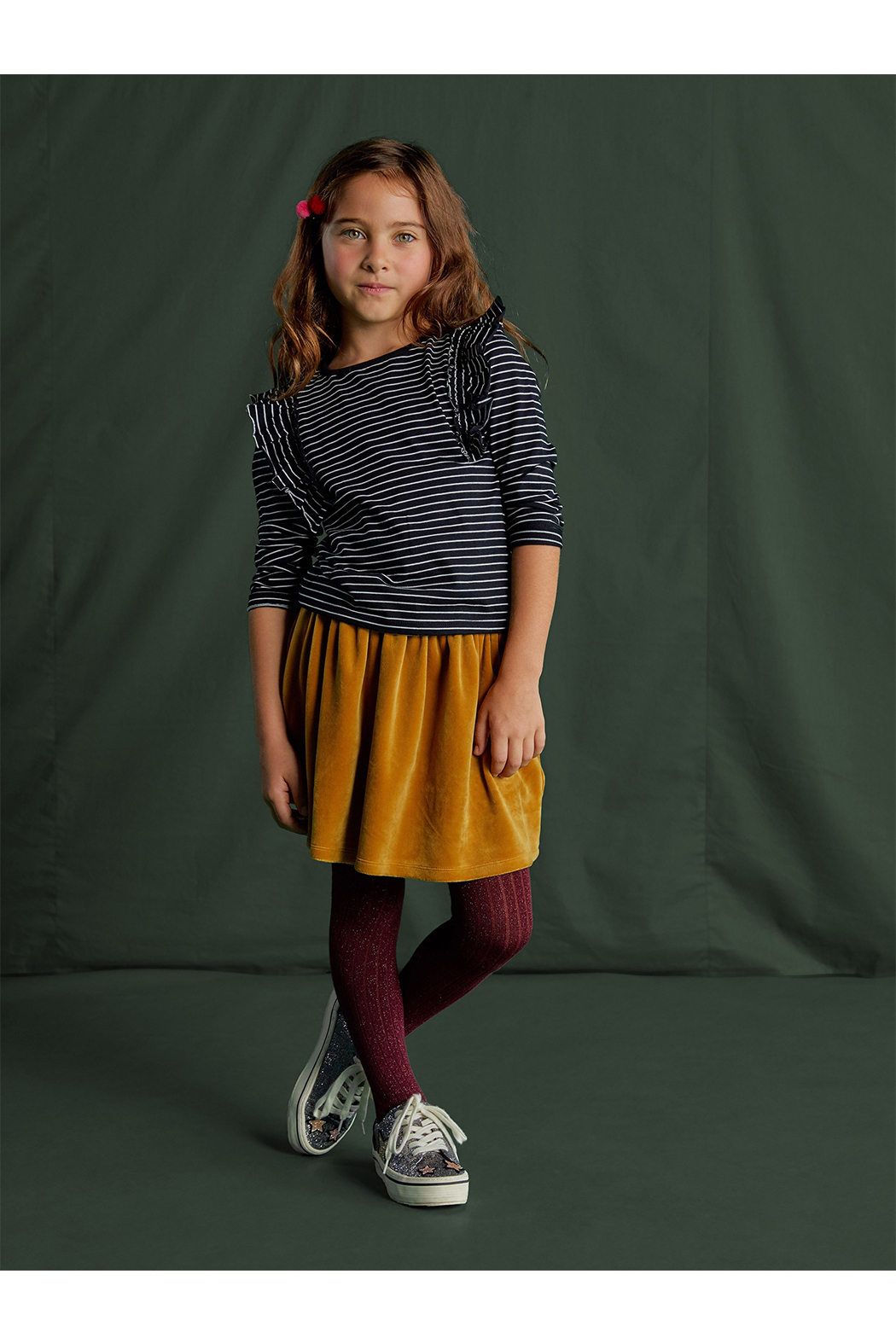 Tea Collection Striped Ruffle Flutter Top - Front Full Image