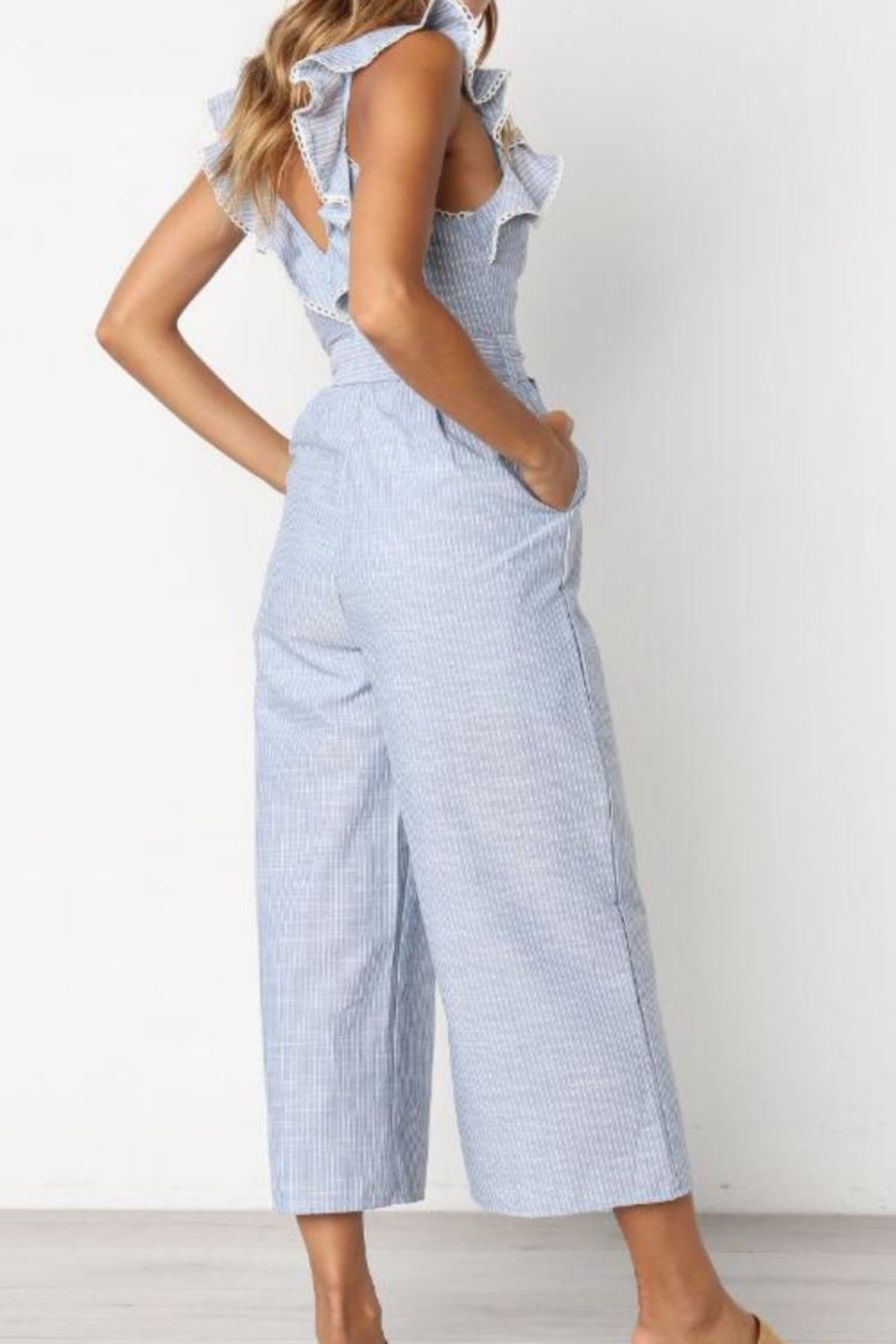 Selfie Leslie Striped Ruffle Jumpsuit - Side Cropped Image