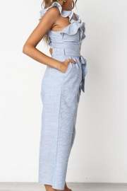 Selfie Leslie Striped Ruffle Jumpsuit - Front full body