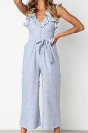 Selfie Leslie Striped Ruffle Jumpsuit - Front cropped