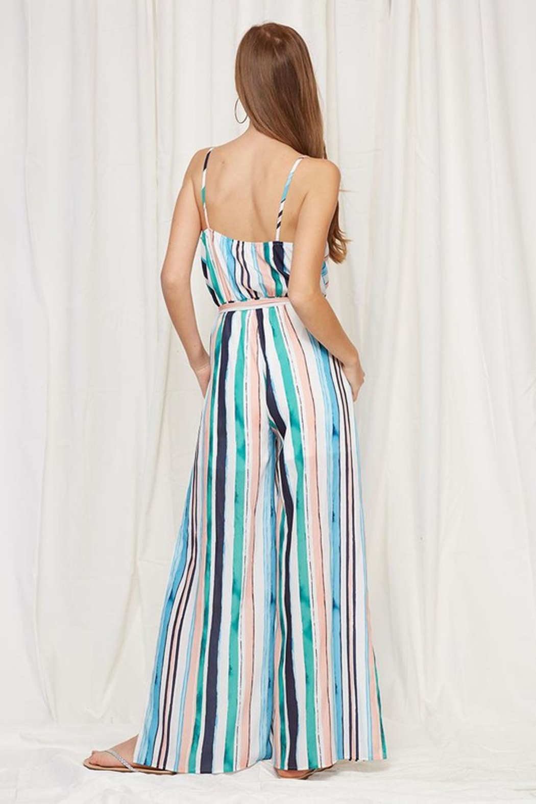 Peach Love California Striped Ruffle Jumpsuit - Back Cropped Image