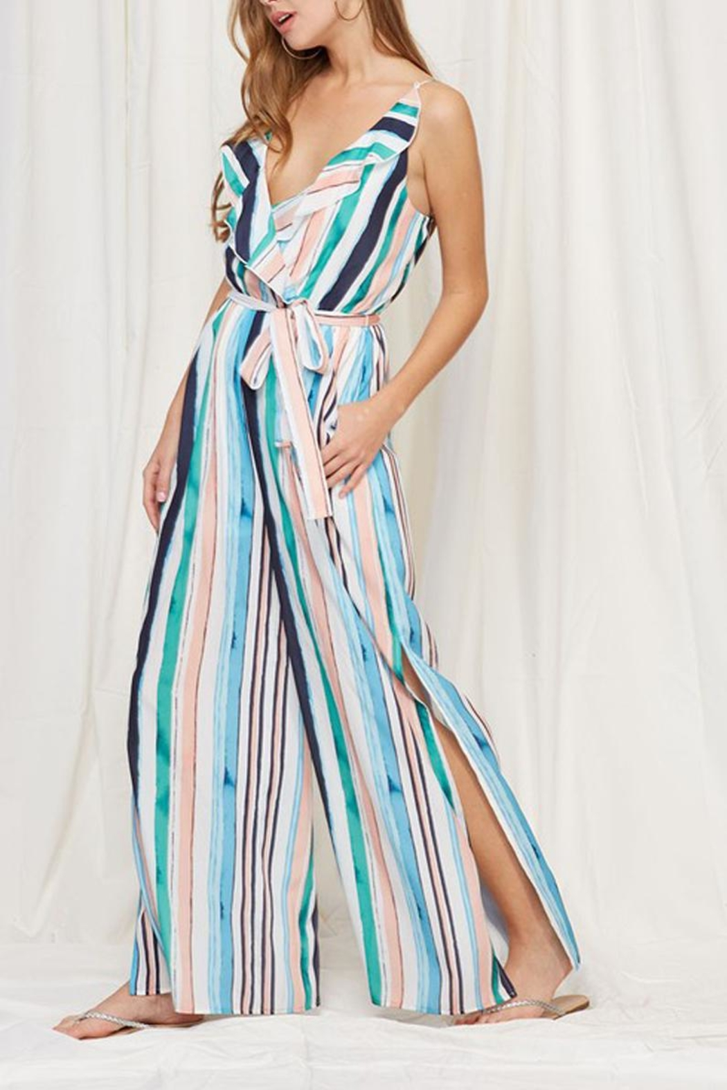 Peach Love California Striped Ruffle Jumpsuit - Front Full Image