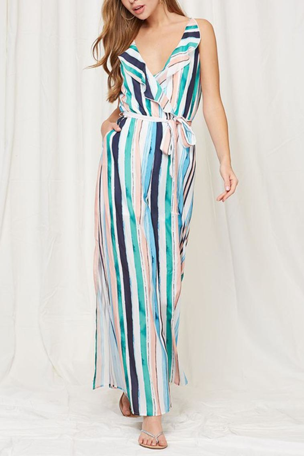 Peach Love California Striped Ruffle Jumpsuit - Side Cropped Image