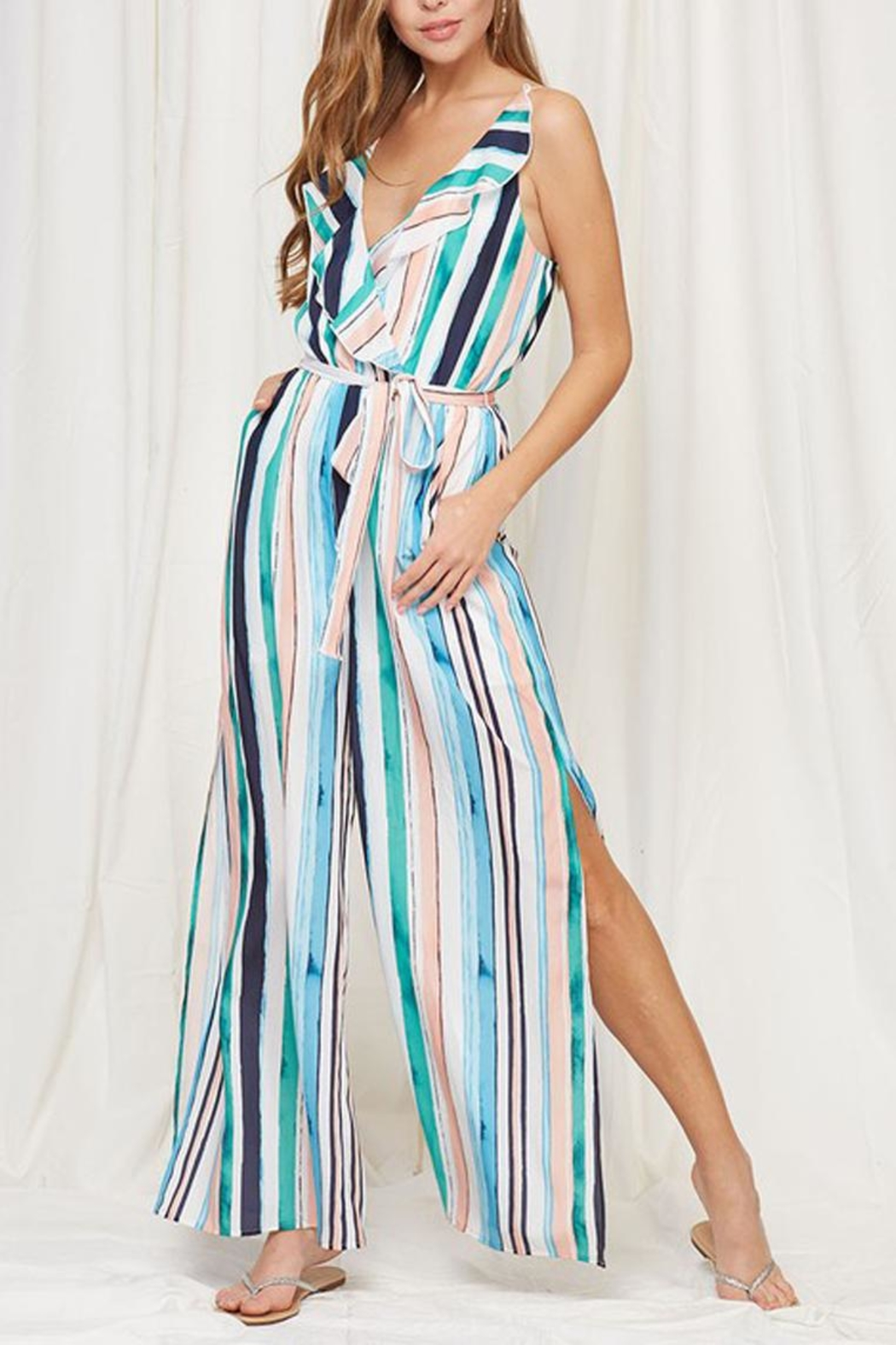 Peach Love California Striped Ruffle Jumpsuit - Front Cropped Image
