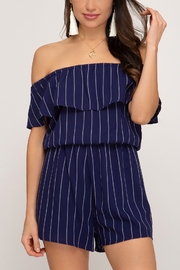 She + Sky Striped Ruffle Romper - Front cropped