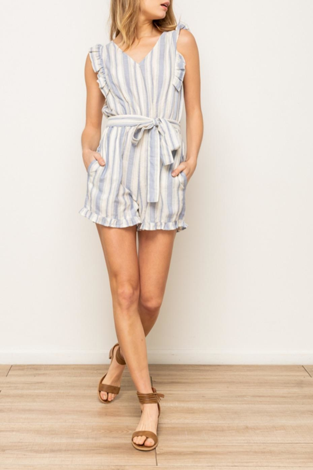 Hem & Thread Striped Ruffle Romper - Main Image
