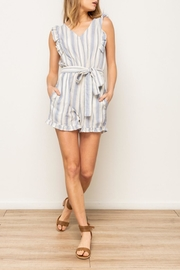 Hem & Thread Striped Ruffle Romper - Front cropped