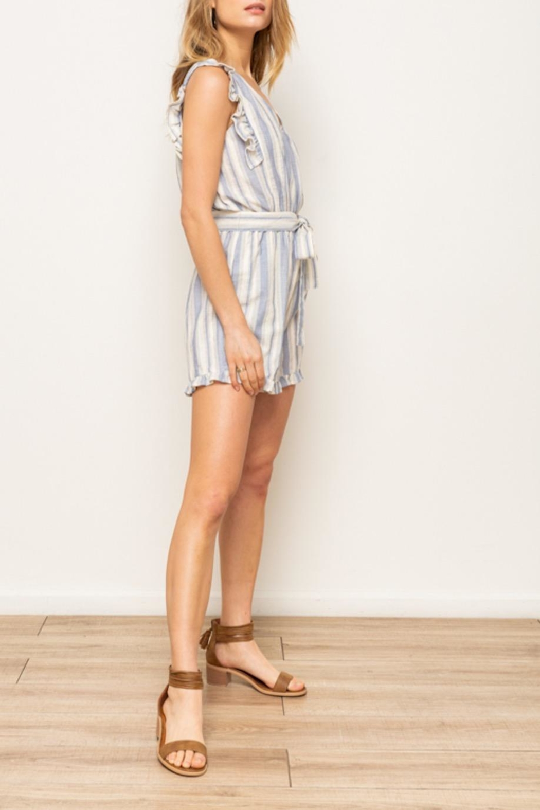 Hem & Thread Striped Ruffle Romper - Front Full Image