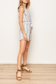 Hem & Thread Striped Ruffle Romper - Front full body