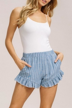 Listicle Striped Ruffle Shorts - Product List Image