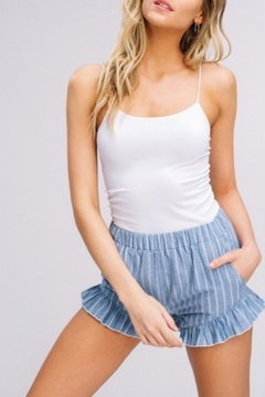 Listicle Striped Ruffle Shorts - Alternate List Image