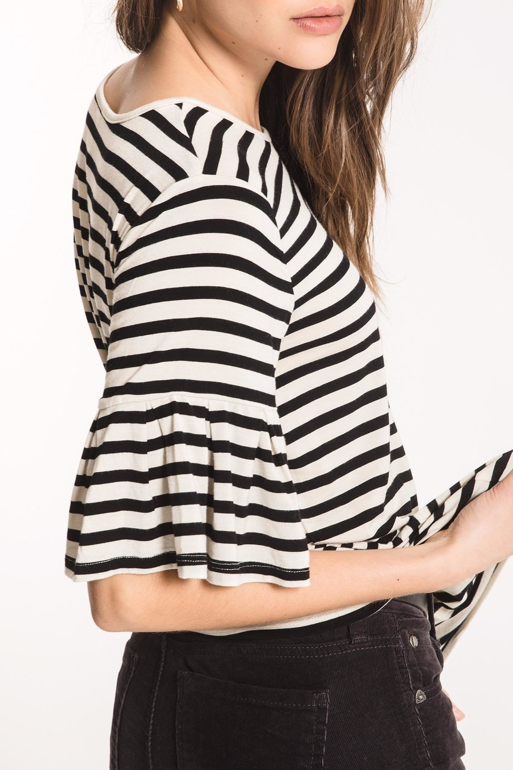 z supply Striped Ruffle Tee - Front Full Image