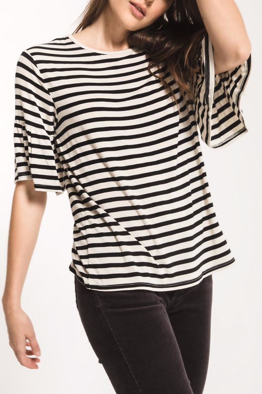 z supply Striped Ruffle Tee - Back Cropped Image