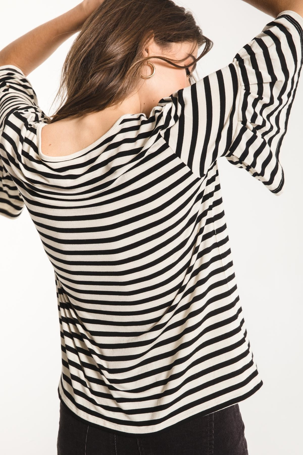 z supply Striped Ruffle Tee - Side Cropped Image