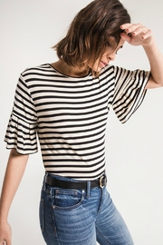 z supply Striped Ruffle Tee - Back cropped