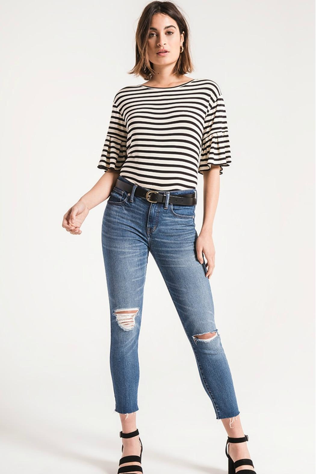 z supply Striped Ruffle Tee - Front Cropped Image