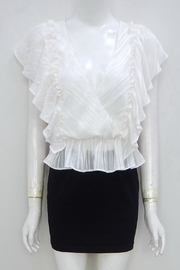 Indikah Striped Ruffle Top - Front cropped