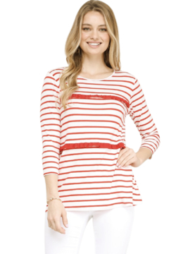 Ninexis Striped Ruffle Top - Product List Image