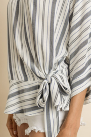 dress forum Striped Ruffled Hem Blouse - Back cropped