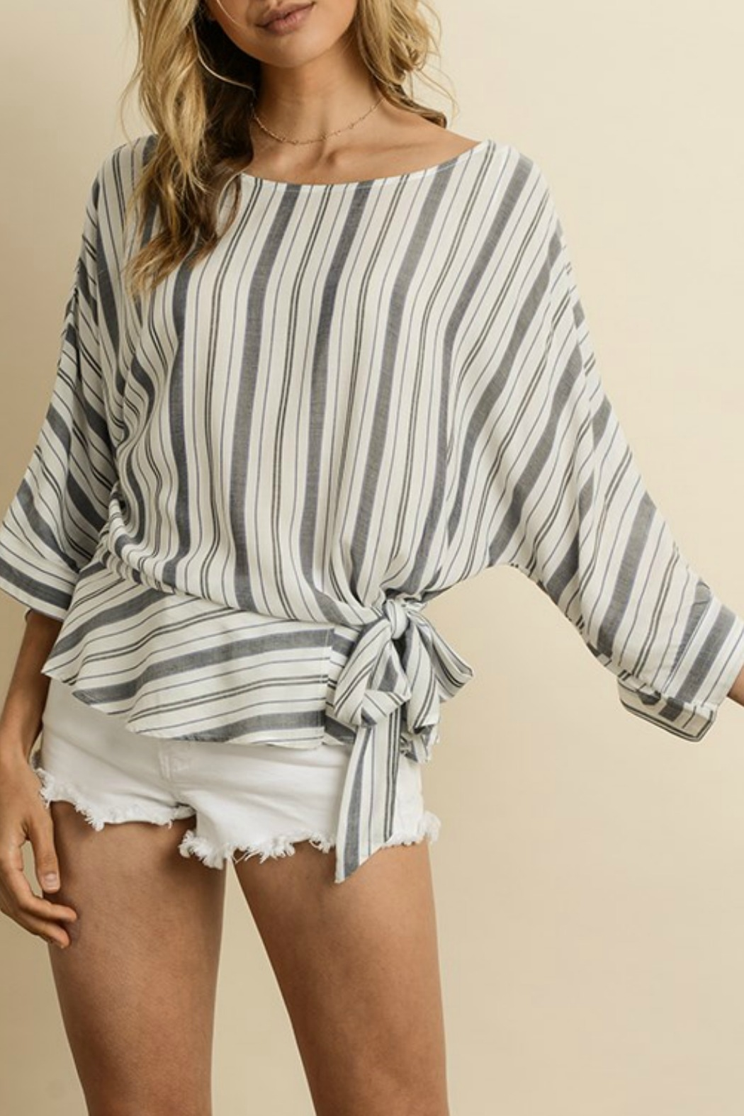 dress forum Striped Ruffled Hem Blouse - Front Cropped Image