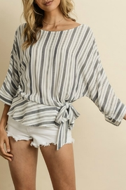 dress forum Striped Ruffled Hem Blouse - Front cropped