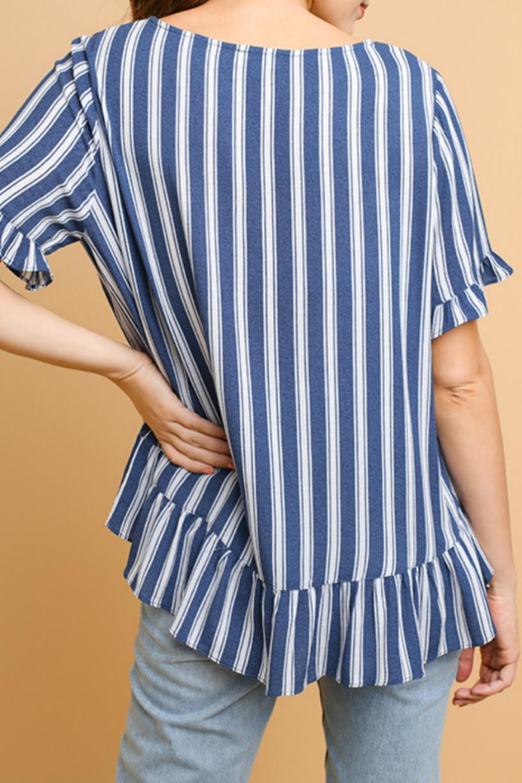 Umgee USA Striped Ruffled Top - Front Full Image
