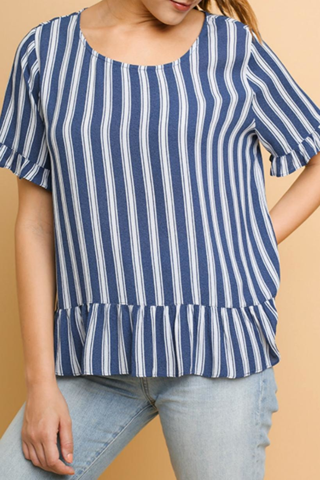 Umgee USA Striped Ruffled Top - Main Image