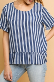 Umgee USA Striped Ruffled Top - Product Mini Image